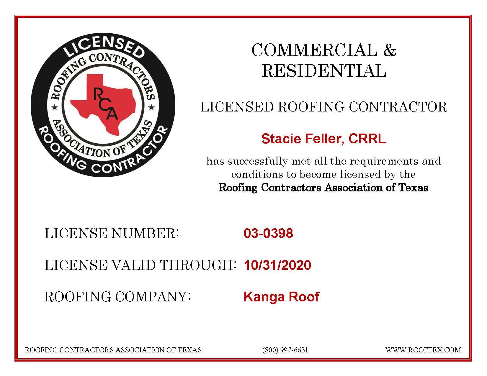 Stacie Feller - RCAT License